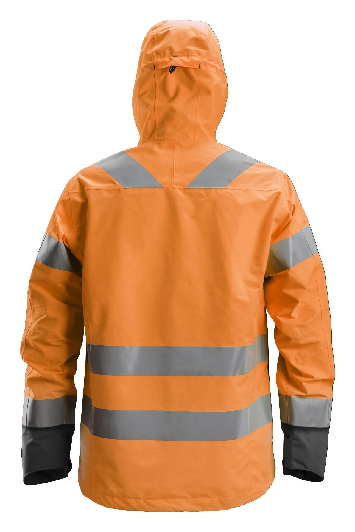 Snickers 1330 Vedenpitävä huomiokuoritakki, lk 3 | High vis orange\Steel grey - 5558 | V-liftverkkokauppa.fi