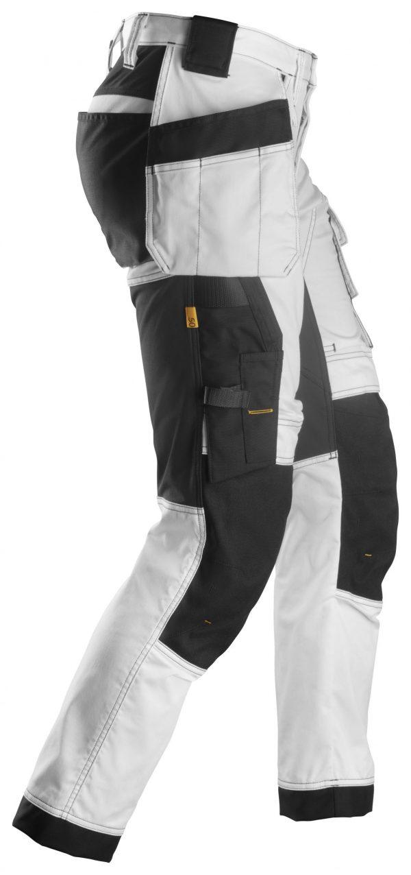 Snickers 6241 Stretch-työhousut + riipputaskut   White\Black - 0904   V-liftverkkokauppa.fi