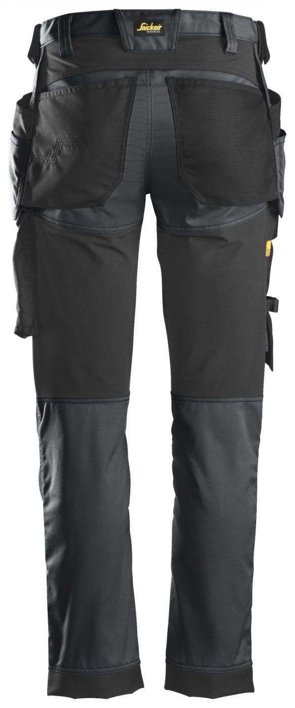 Snickers 6241 Stretch-työhousut + riipputaskut   Steel grey\Black - 5804   V-liftverkkokauppa.fi