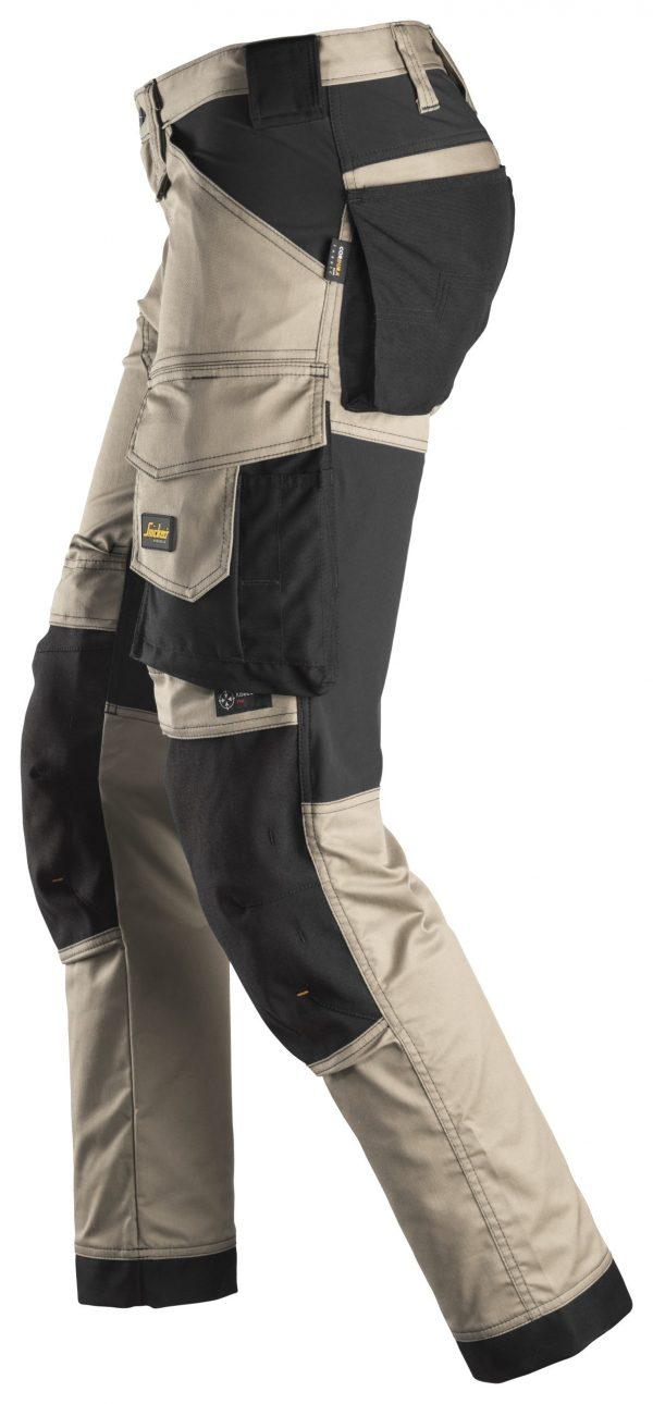 Snickers 6341 Stretch-housut | Khaki\Black - 2004 | V-liftverkkokauppa.fi